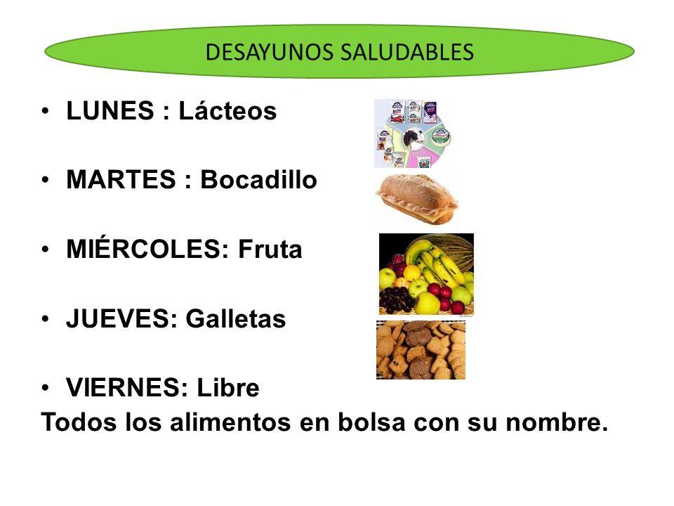 DESAYUNOS SALUDABLESLUNES : Lácteos. MARTES : Bocadillo. MIÉRCOLES: Fruta. JUEVES: Galletas. VIERNES: Libre.