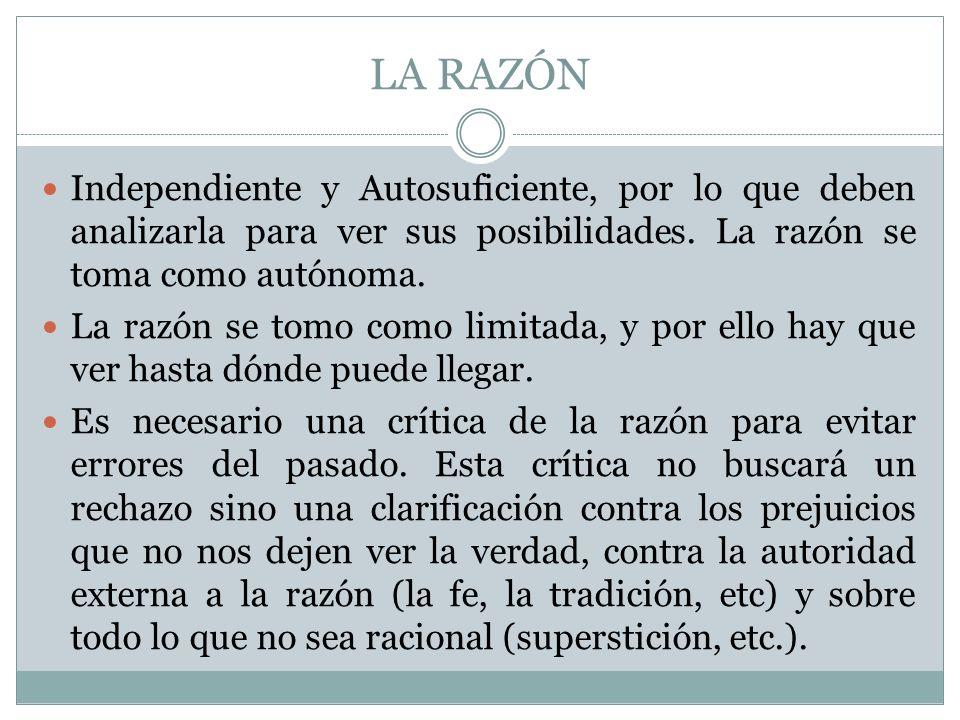 LA RAZÓN Independiente y Autosuficiente, por lo que deben analizarla para ver sus posibilidades. La razón se toma como autónoma.