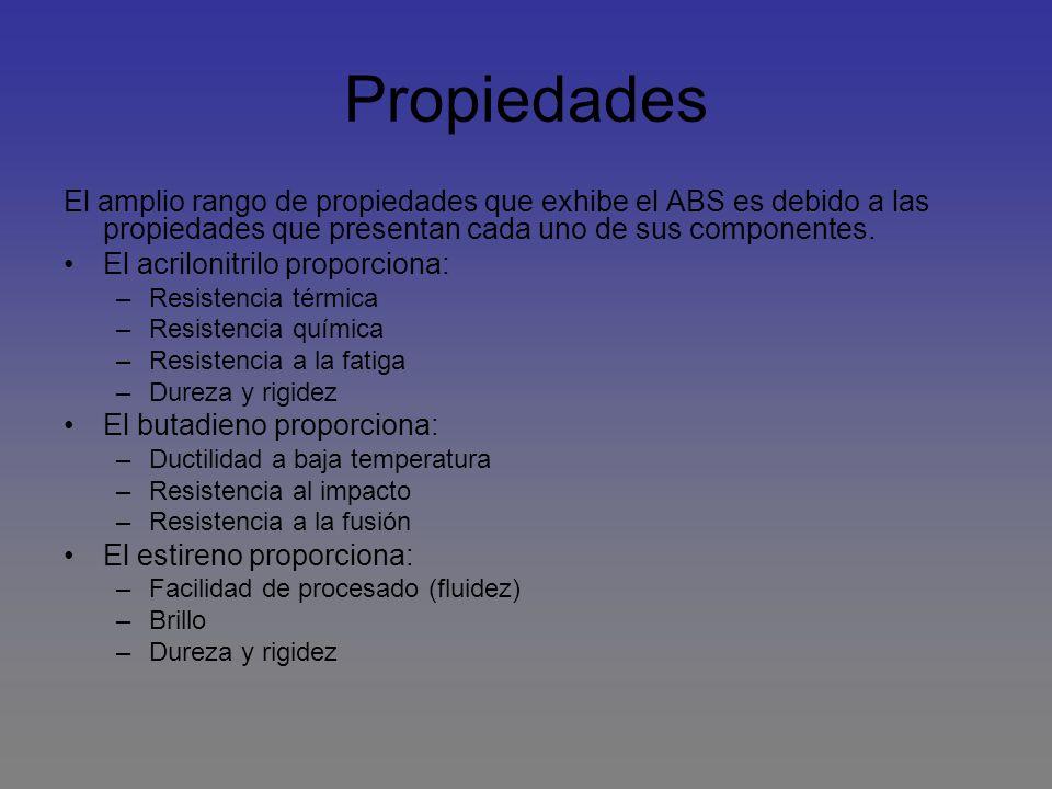 Propiedades El amplio rango de propiedades que exhibe el ABS es debido a las propiedades que presentan cada uno de sus componentes.