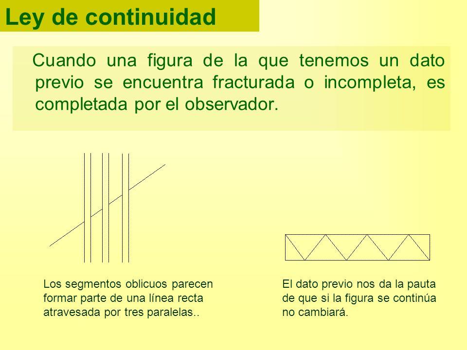 Ley de continuidad Cuando una figura de la que tenemos un dato previo se encuentra fracturada o incompleta, es completada por el observador.
