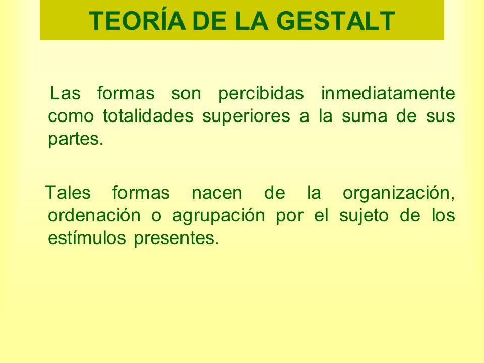 TEORÍA DE LA GESTALTLas formas son percibidas inmediatamente como totalidades superiores a la suma de sus partes.