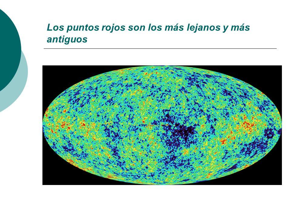 Los puntos rojos son los más lejanos y más antiguos