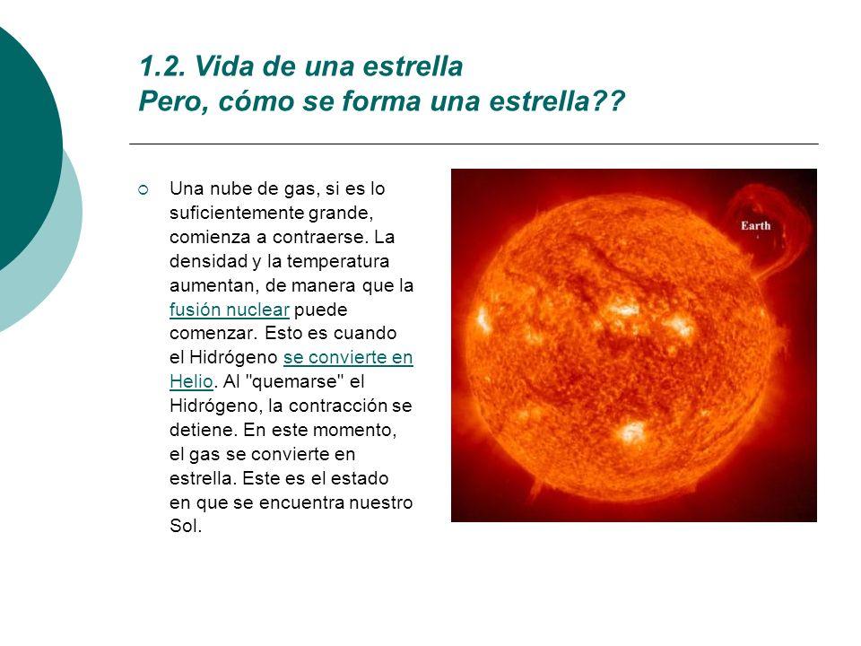 1.2. Vida de una estrella Pero, cómo se forma una estrella