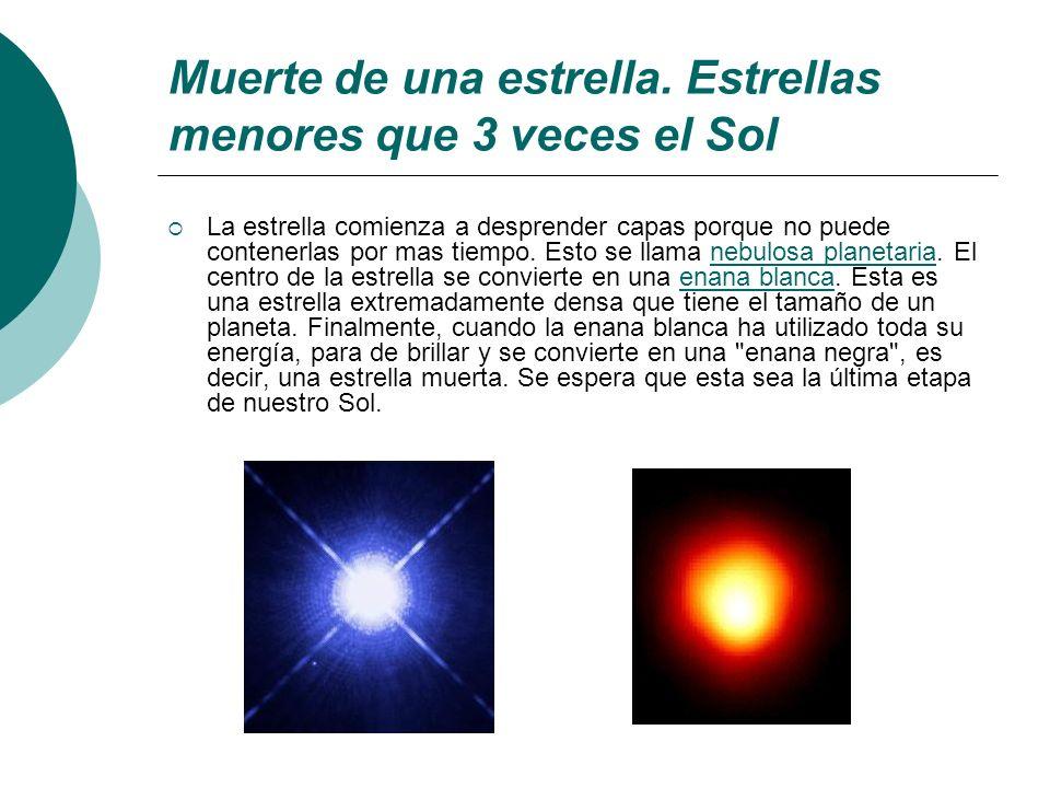 Muerte de una estrella. Estrellas menores que 3 veces el Sol