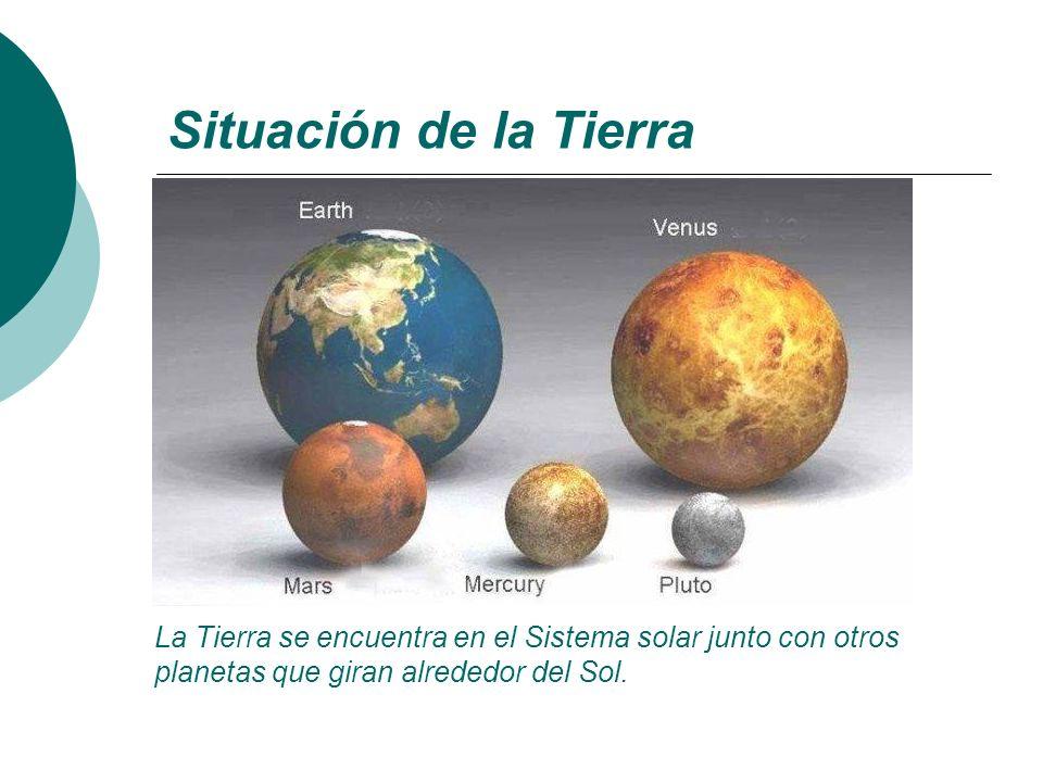 Situación de la Tierra La Tierra se encuentra en el Sistema solar junto con otros planetas que giran alrededor del Sol.