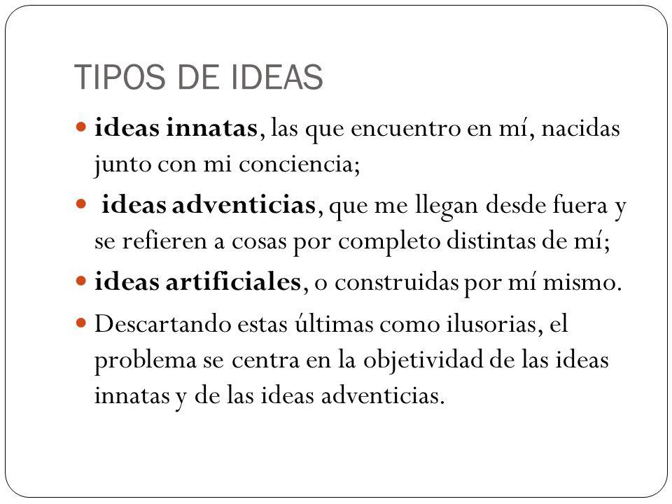 TIPOS DE IDEAS ideas innatas, las que encuentro en mí, nacidas junto con mi conciencia;