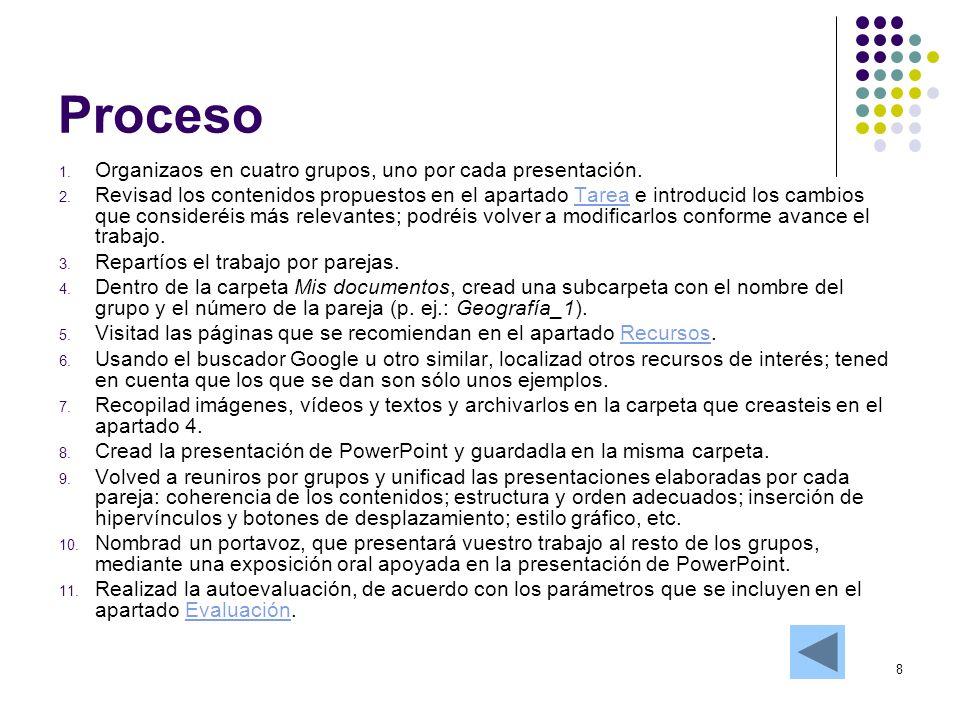 Proceso Organizaos en cuatro grupos, uno por cada presentación.