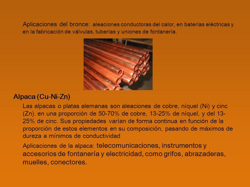 Aplicaciones del bronce: aleaciones conductoras del calor, en baterías eléctricas y en la fabricación de válvulas, tuberías y uniones de fontanería.
