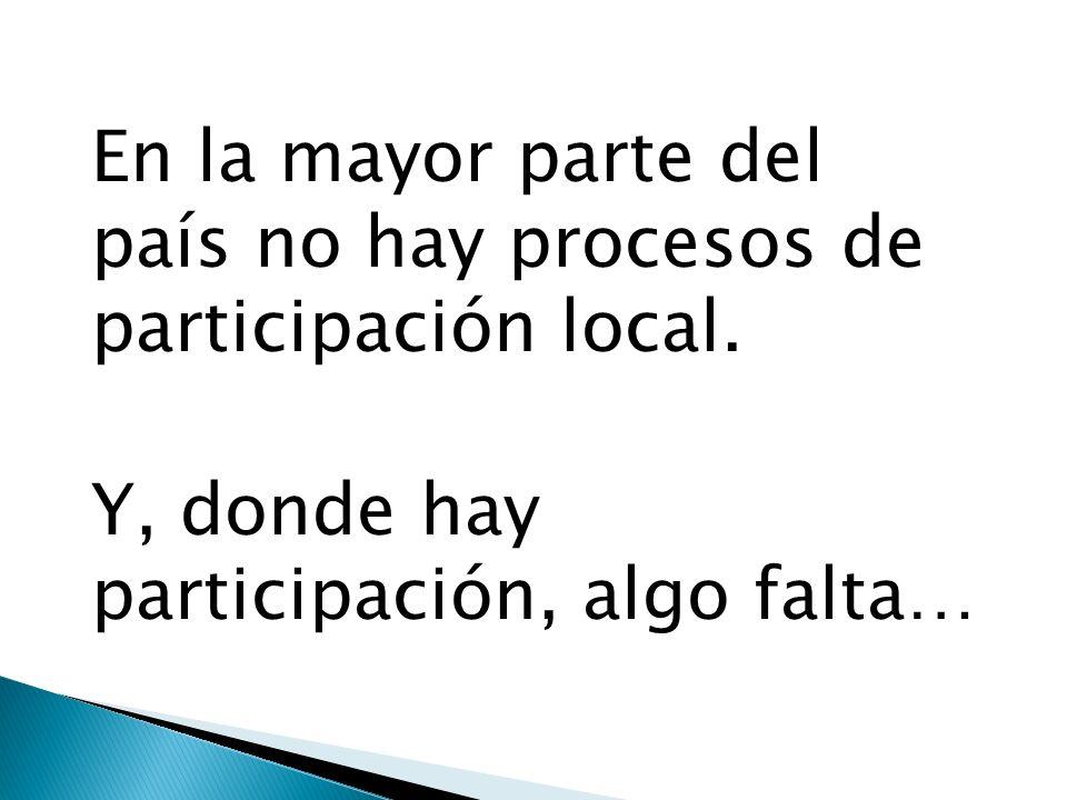En la mayor parte del país no hay procesos de participación local