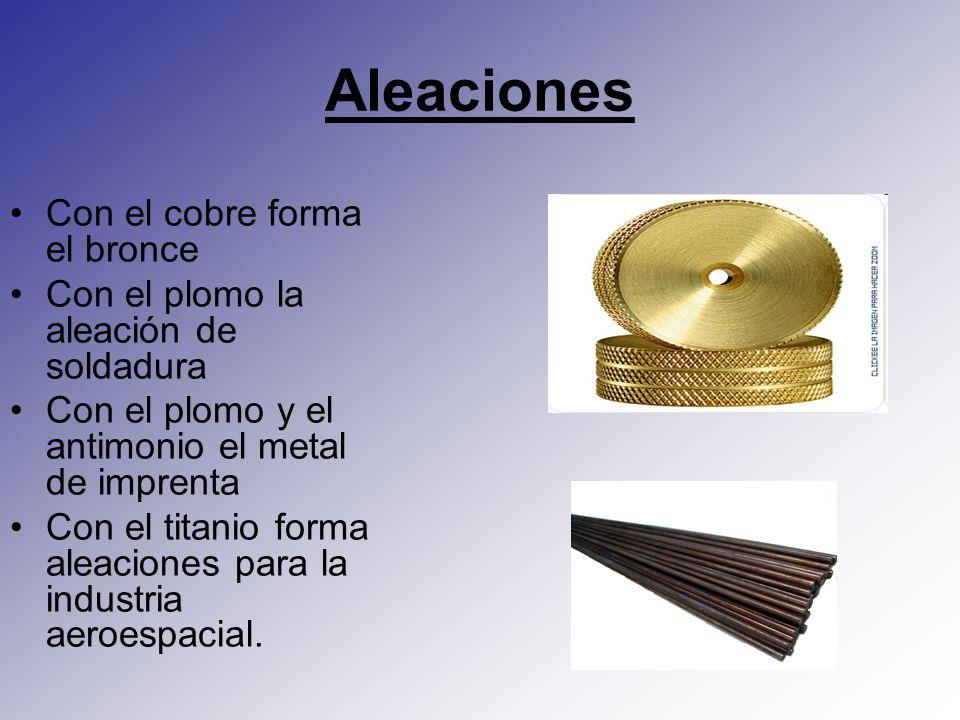 Aleaciones Con el cobre forma el bronce