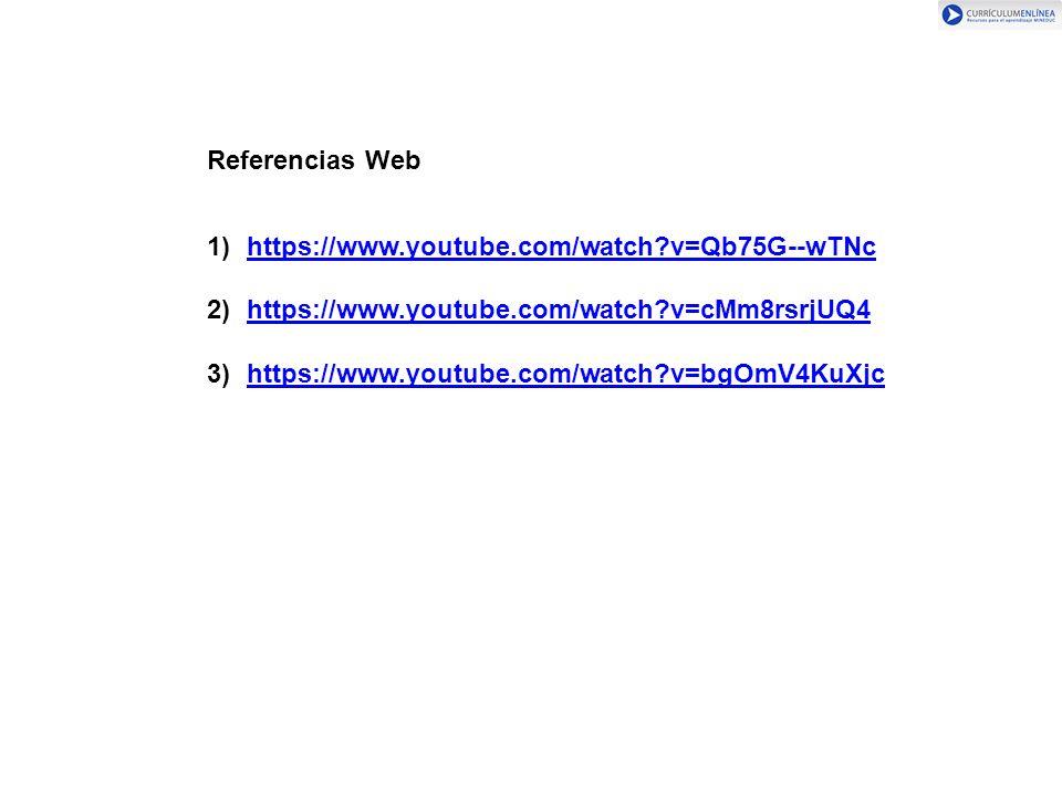 Referencias Web https://www.youtube.com/watch v=Qb75G--wTNc. https://www.youtube.com/watch v=cMm8rsrjUQ4.