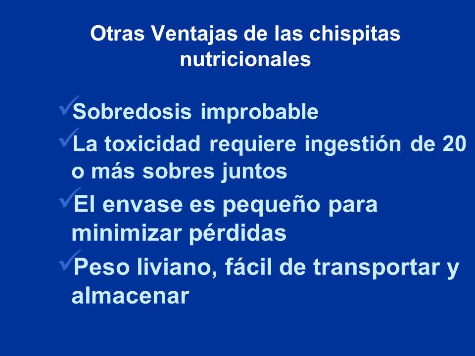 Otras Ventajas de las chispitas nutricionales
