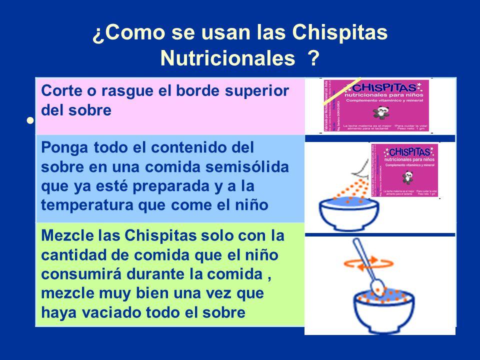 ¿Como se usan las Chispitas Nutricionales