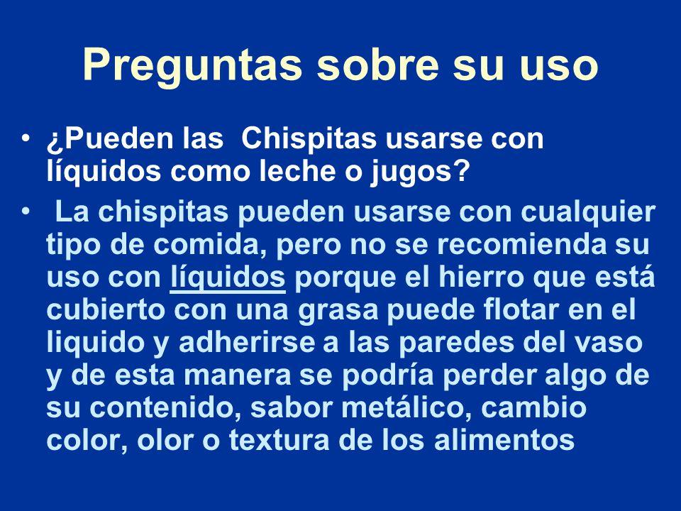 Preguntas sobre su uso ¿Pueden las Chispitas usarse con líquidos como leche o jugos