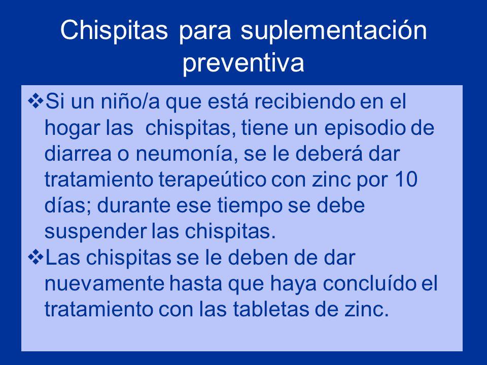 Chispitas para suplementación preventiva