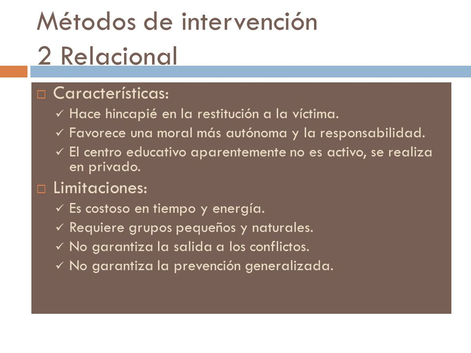 Métodos de intervención 2 Relacional