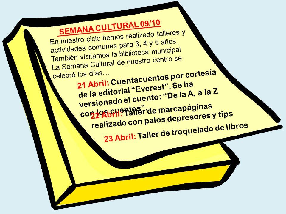 22 Abril: Taller de marcapáginas realizado con palos depresores y tips
