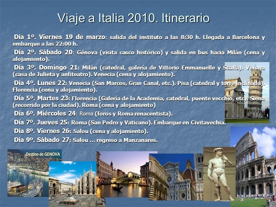 Viaje a Italia 2010. Itinerario