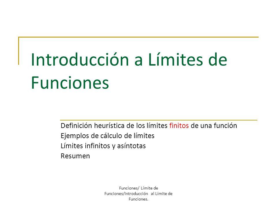 Introducción a Límites de Funciones
