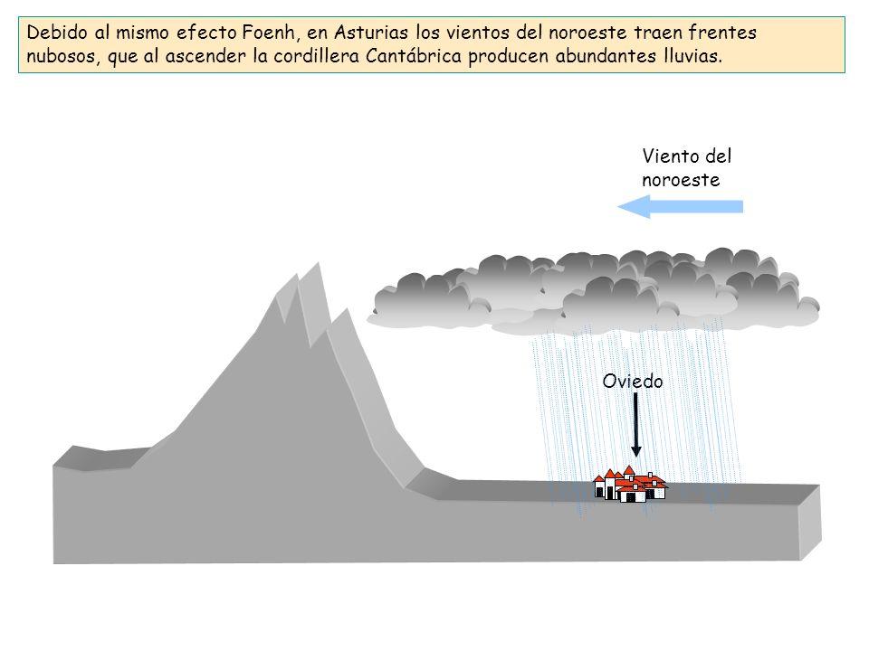Debido al mismo efecto Foenh, en Asturias los vientos del noroeste traen frentes nubosos, que al ascender la cordillera Cantábrica producen abundantes lluvias.