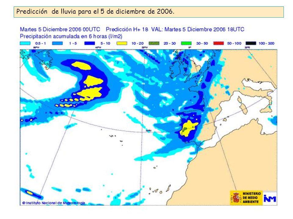 Predicción de lluvia para el 5 de diciembre de 2006.