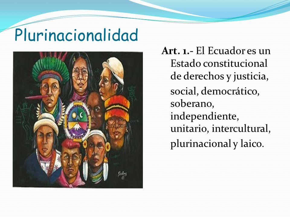 PlurinacionalidadArt. 1.- El Ecuador es un Estado constitucional de derechos y justicia,