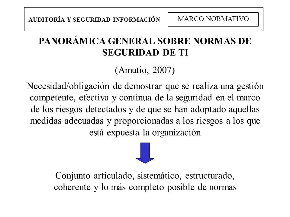 PANORÁMICA GENERAL SOBRE NORMAS DE SEGURIDAD DE TI