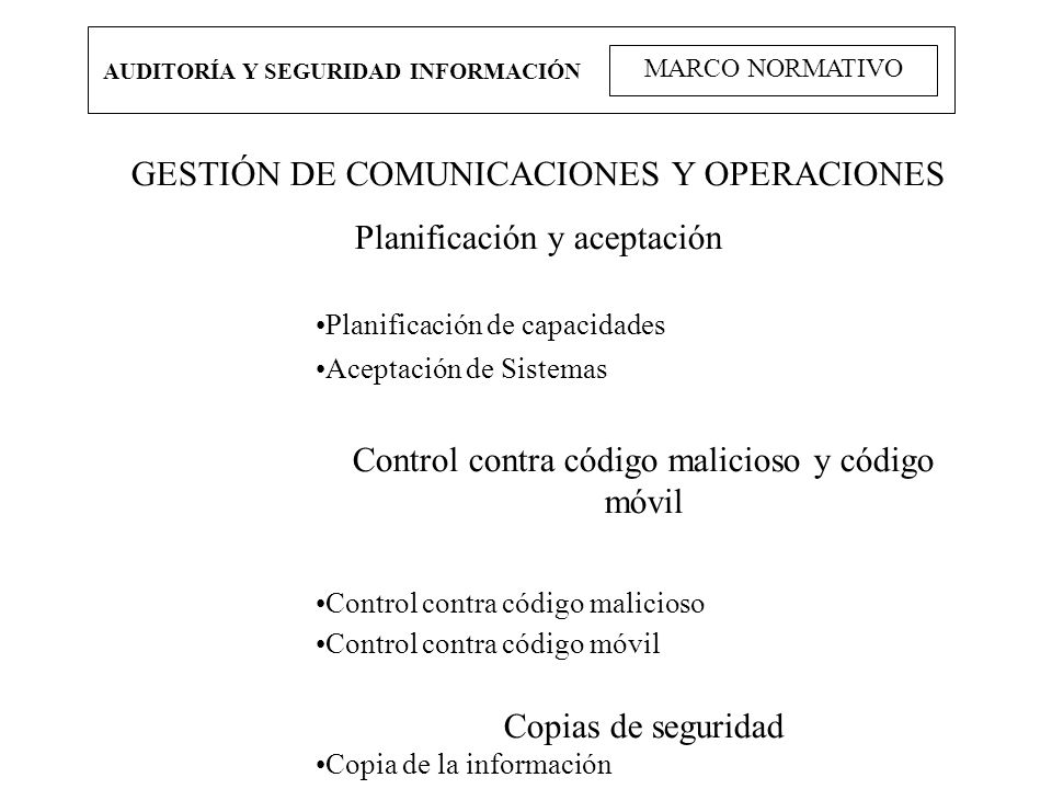 GESTIÓN DE COMUNICACIONES Y OPERACIONES Planificación y aceptación
