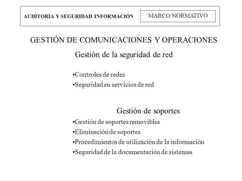 GESTIÓN DE COMUNICACIONES Y OPERACIONES Gestión de la seguridad de red