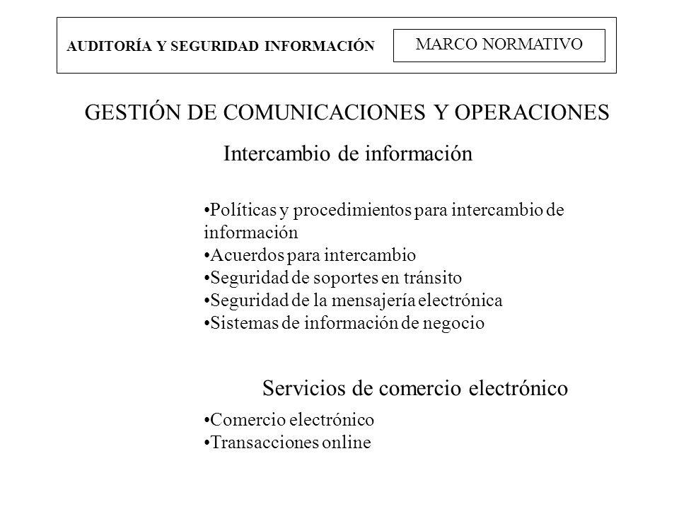 GESTIÓN DE COMUNICACIONES Y OPERACIONES Intercambio de información