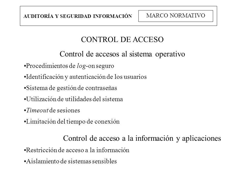 Control de accesos al sistema operativo