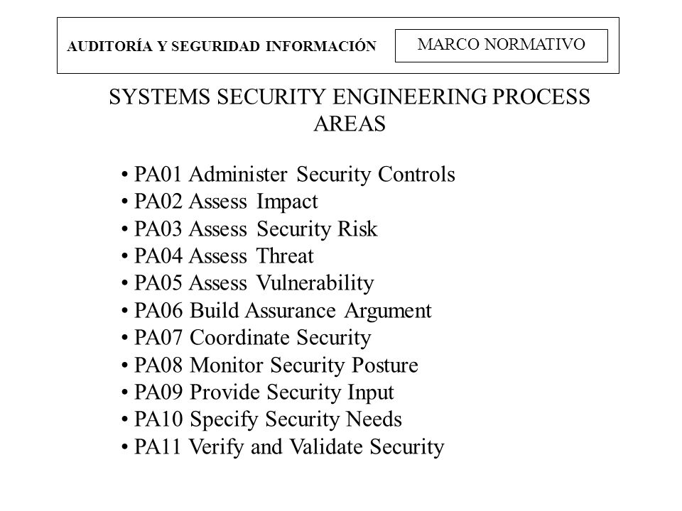 SYSTEMS SECURITY ENGINEERING PROCESS AREAS
