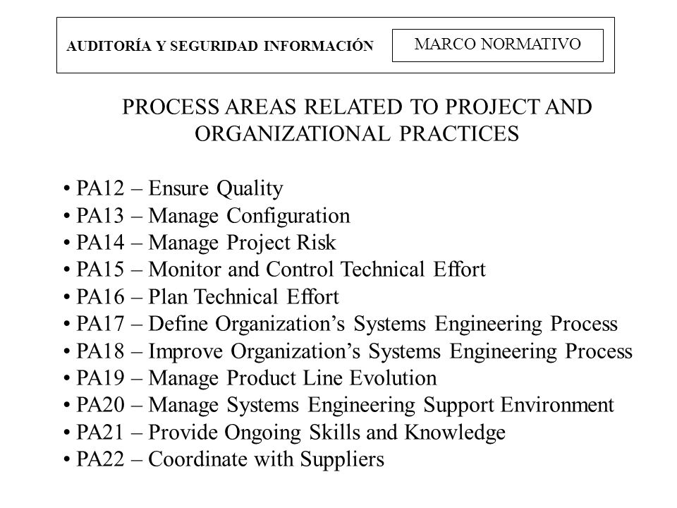 PROCESS AREAS RELATED TO PROJECT AND ORGANIZATIONAL PRACTICES