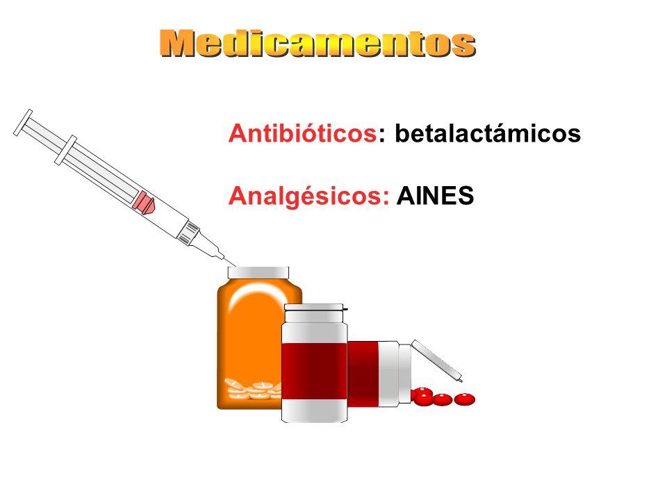 Medicamentos Antibióticos: betalactámicos Analgésicos: AINES