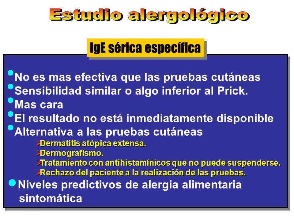 IgE sérica específica No es mas efectiva que las pruebas cutáneas