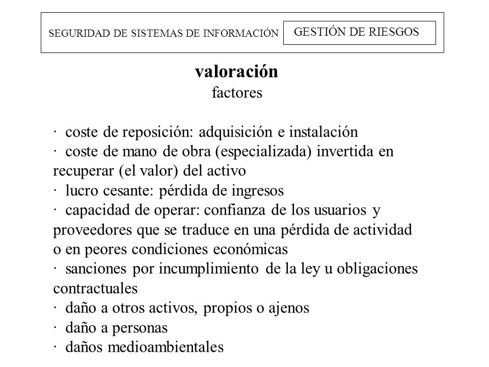 valoración factores · coste de reposición: adquisición e instalación