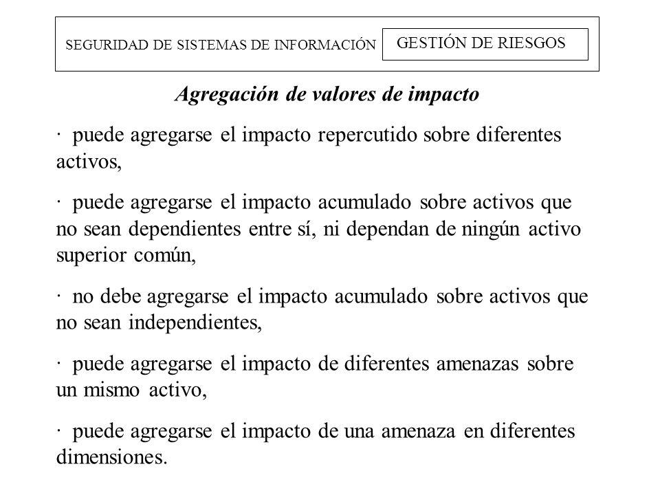 Agregación de valores de impacto