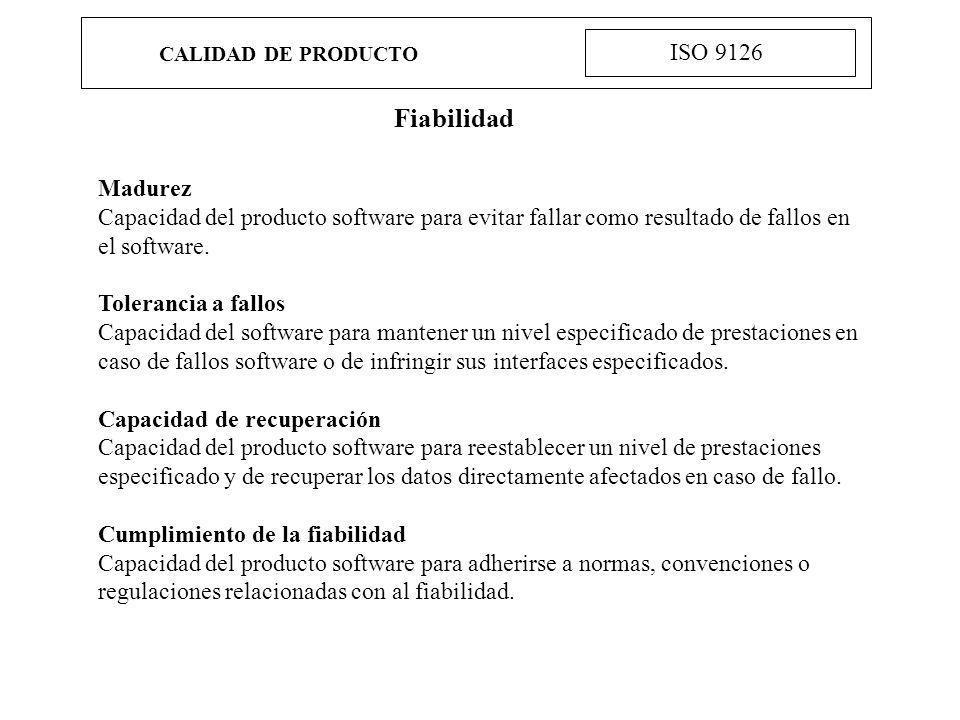 Fiabilidad ISO 9126 Madurez