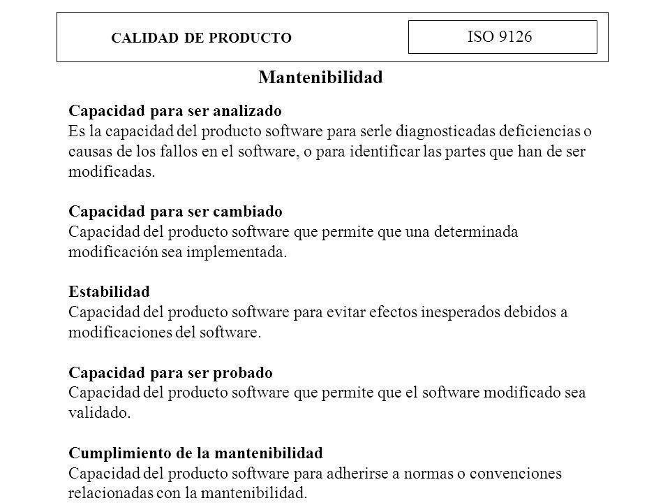 Mantenibilidad ISO 9126 Capacidad para ser analizado