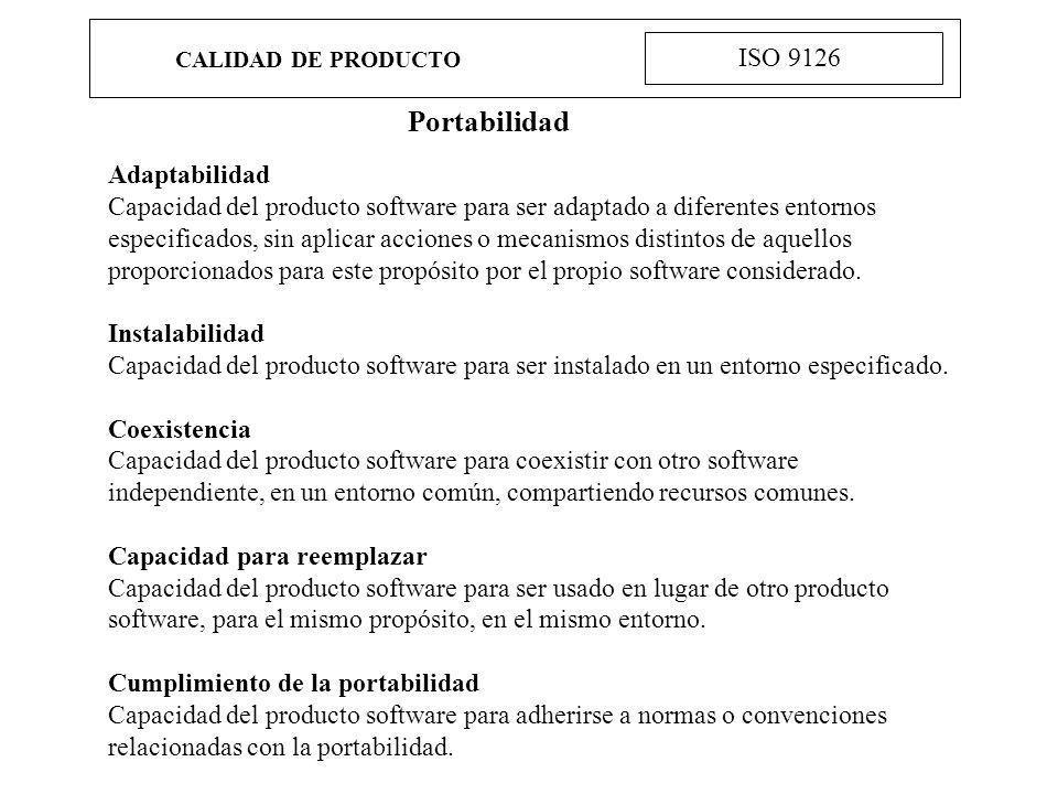 Portabilidad ISO 9126 Adaptabilidad