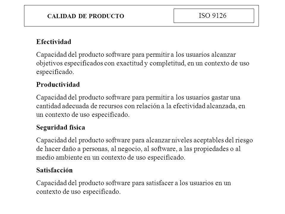 CALIDAD DE PRODUCTO ISO 9126. Efectividad.