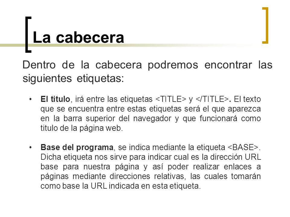La cabecera Dentro de la cabecera podremos encontrar las siguientes etiquetas: