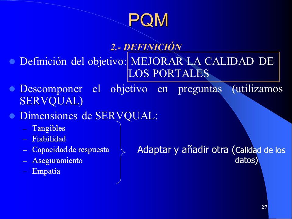 PQM Definición del objetivo: MEJORAR LA CALIDAD DE LOS PORTALES