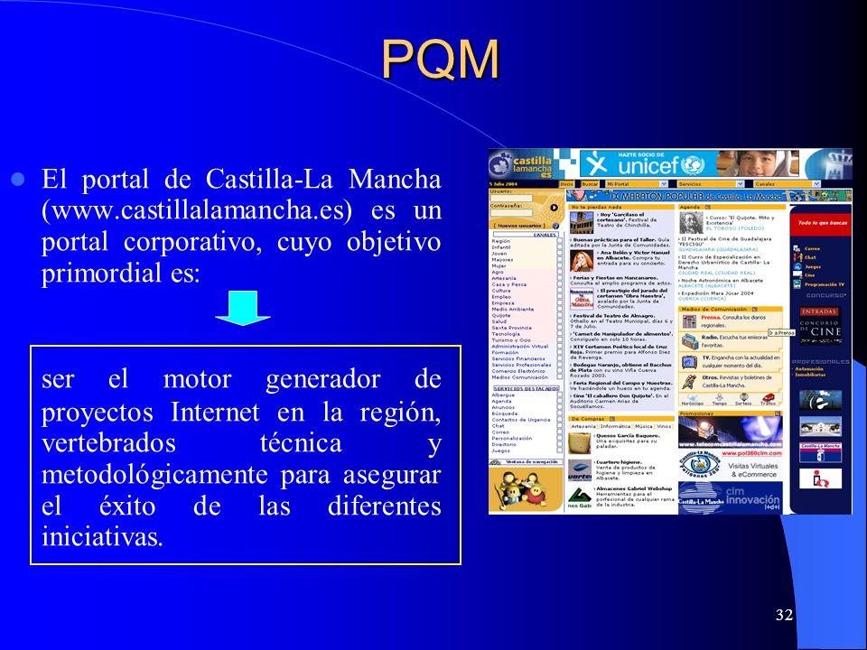 PQM El portal de Castilla-La Mancha (www.castillalamancha.es) es un portal corporativo, cuyo objetivo primordial es: