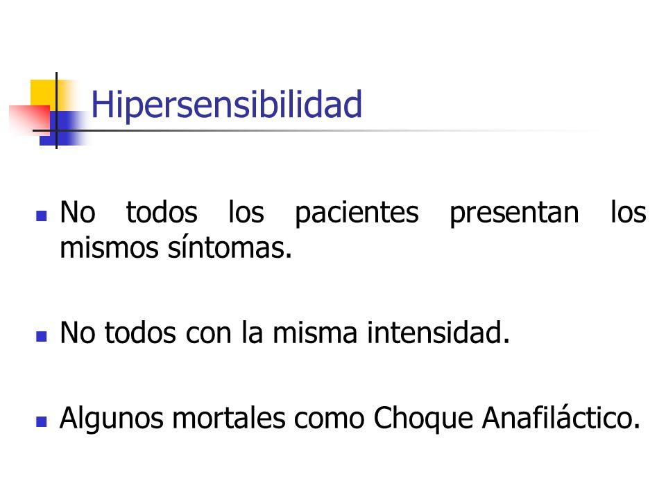 Hipersensibilidad No todos los pacientes presentan los mismos síntomas. No todos con la misma intensidad.