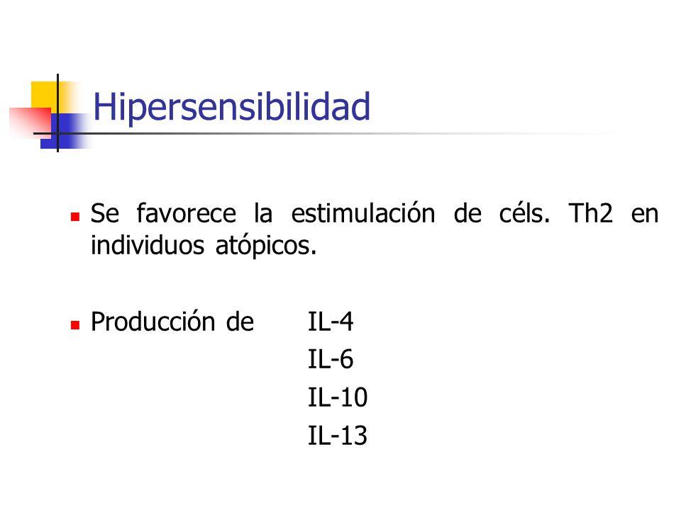 Hipersensibilidad Se favorece la estimulación de céls. Th2 en individuos atópicos. Producción de IL-4.