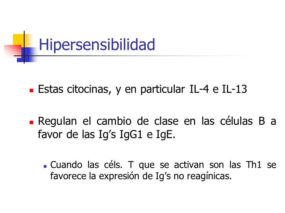 Hipersensibilidad Estas citocinas, y en particular IL-4 e IL-13