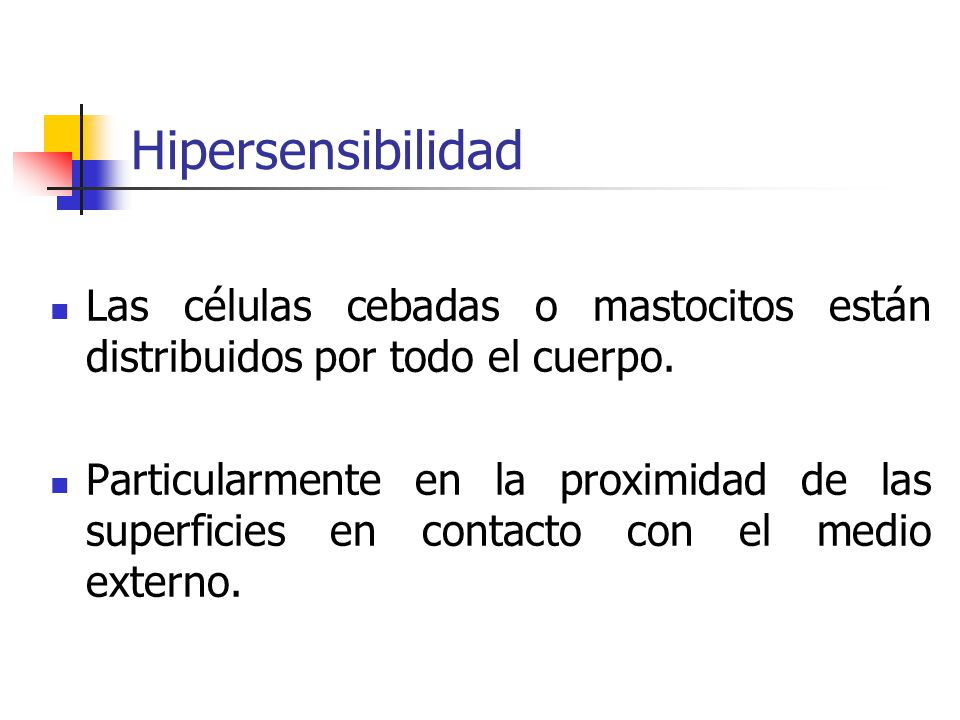 Hipersensibilidad Las células cebadas o mastocitos están distribuidos por todo el cuerpo.