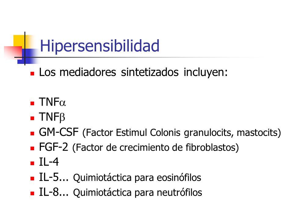 Hipersensibilidad Los mediadores sintetizados incluyen: TNF TNF