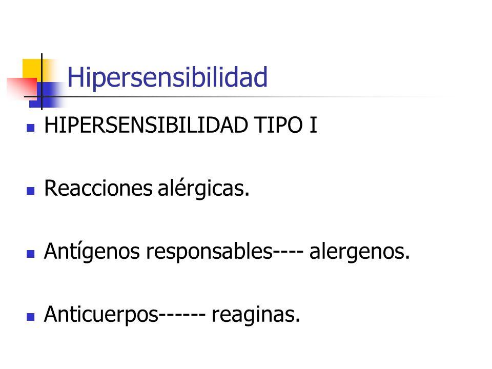 Hipersensibilidad HIPERSENSIBILIDAD TIPO I Reacciones alérgicas.